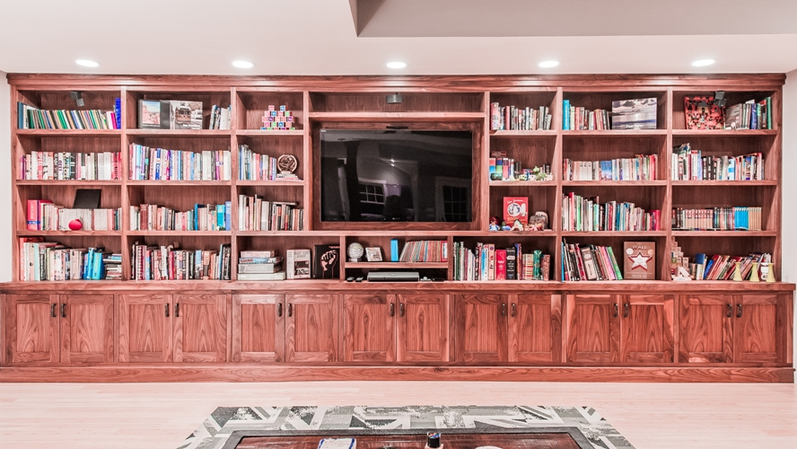 Westchester Custom Design Built In TV Bookshelves Walnut Wood