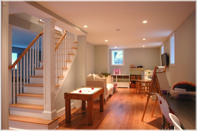 Custom design basement stairs, Westchester NY