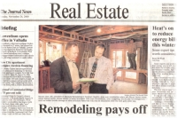 Sylvain C�t�, President of Absolute Remodeling Corp., left, with client Nathan Hurlin of Fleetwood (MT Vernon), NY.