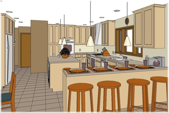 Drawn by our own kitchen designer with CAD program...