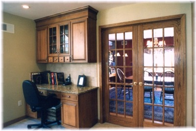 Detail of French doors and 'mini office""