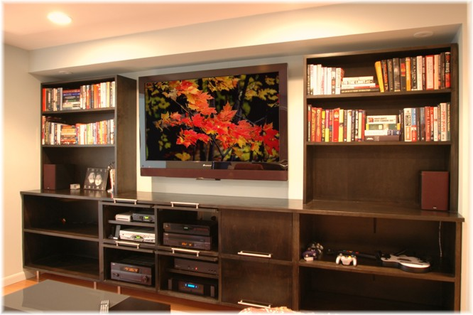 basement custom design built-ins entertainment center